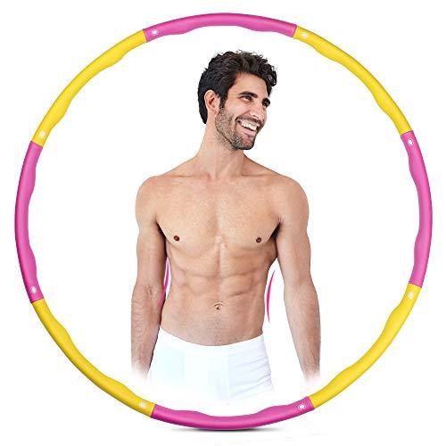 CHILLETIX Hula Hoop Reifen - Abnehmen leicht gemacht - Für Erwachsene und Kinder, auch Anfänger. Mit Spaß zum flachen Bauch, straffer Taille und Gewichtsreduktion. Ohne Zusatzprodukt. (pink & gelb)