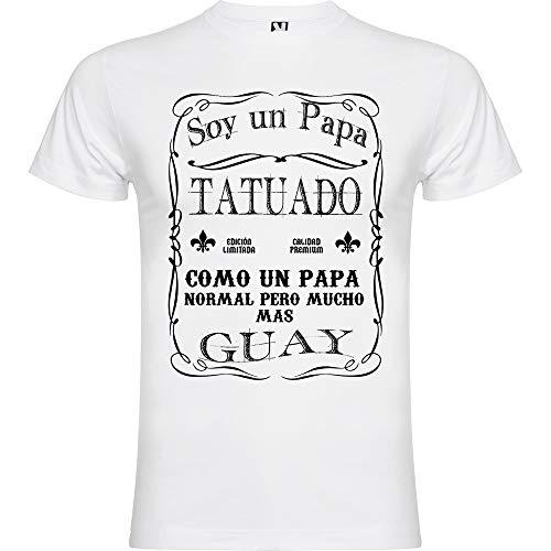 Camiseta Papa Tatuado (M, Blanco)