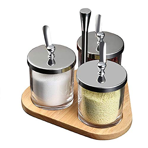 Spice storage jar, seasoning box set, dust-proof and insect-proof, thickened transparent glass bottle, seasoning jar with spoon, used to store various spices