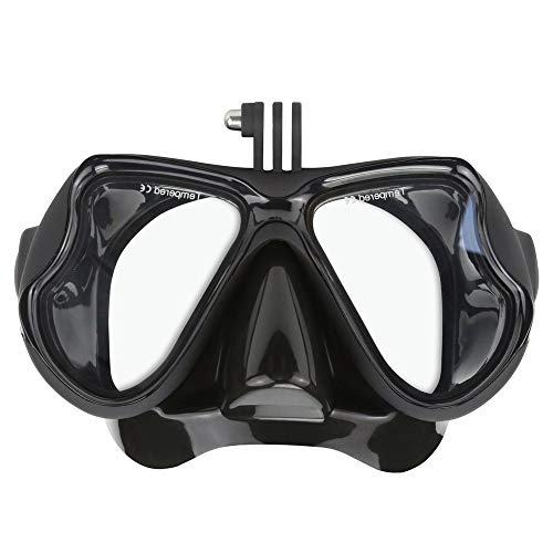 techlife solutions Silicone Diving Glass with Detachable Screw Mount Diving Mask Scuba Snorkel Swimming Goggles for Sports Camera GoPro HD Hero 2 3 3+ 4,4 Session,5 Session,5 Black