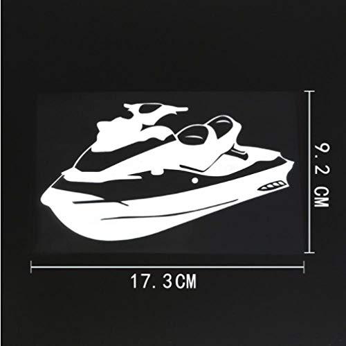 GenericBrands 5 Piezas Etiqueta engomada del coche17.3CMX9.2CM Lindo Jet Ski Water Scooter calcomanía Vinilo Etiqueta engomada del Coche Blanco