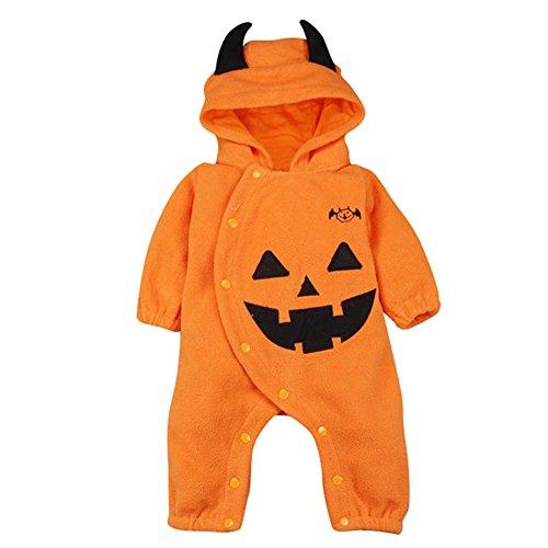 Le SSara Halloween Zucca Tuta Cappuccio Natale Costume Romper (3-6 Mesi, Orange)