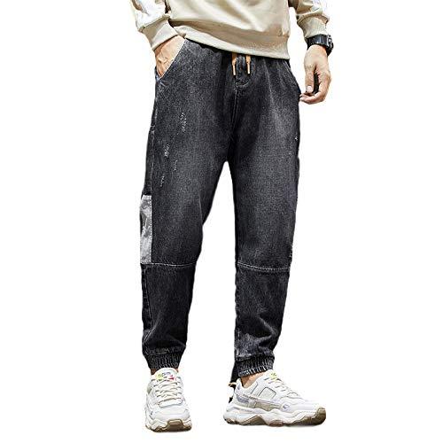 Pantalones Vaqueros de Talla Grande para Hombre, cómodos, Holgados, de Mezclilla, Pantalones Tipo harén, Costura de Retazos, Cintura elástica, Pantalones Cargo Casuales 42