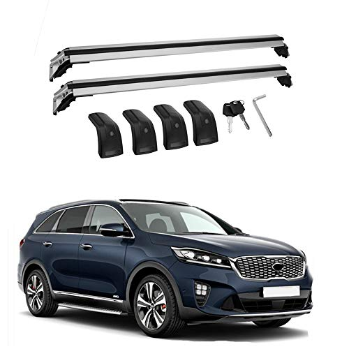 MotorFansClub Roof Rack Cross Bars Fit for Compatible with Kia Sorento 2015 2016 2017 2018 Baggage Locking Roof Rack Crossbars Luggage Rack Cargo with Cars Aluminum Alloy,Silver