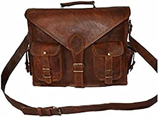 TUZECH Rustic Big Pocket Pure Leather Bag Office Satchel Bag - Fits Laptop Upto 15.6 Inches