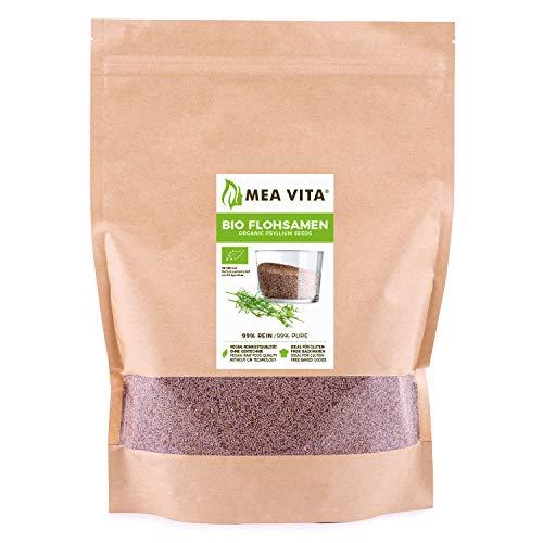 MeaVita Bio Flohsamen, 99{5587aba5ce6e69ff93fd875ac85177f93e59b571a478603d055f9b5740adf507} rein, 1000g im Beutel Premium Qualität aus Indien im Zippbeutel
