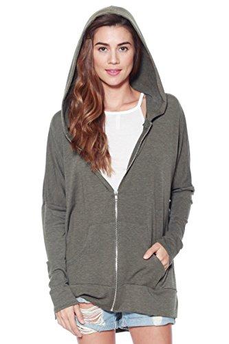 Womens Casual Oversized Zipper Hoodie - Lightweight Terry Knit Sweatshirt (Olive, Medium)