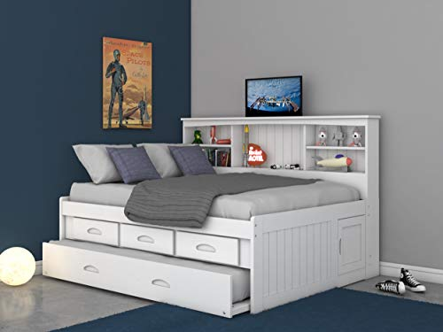 Discovery World Furniture Full Bookcase Daybed with 3 Drawers & Trundle White