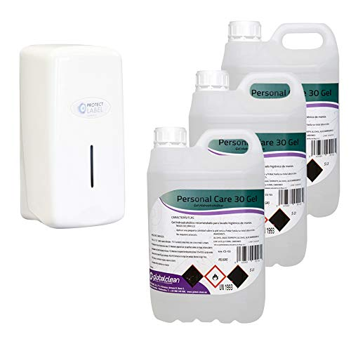 Pack 3 Garrafas Gel Hidroalcohólico 5 Litros (Total 15 Litros) + 1 Dispensador Automático o Manual (+ Dispensador Manual 1000ml DISP501)