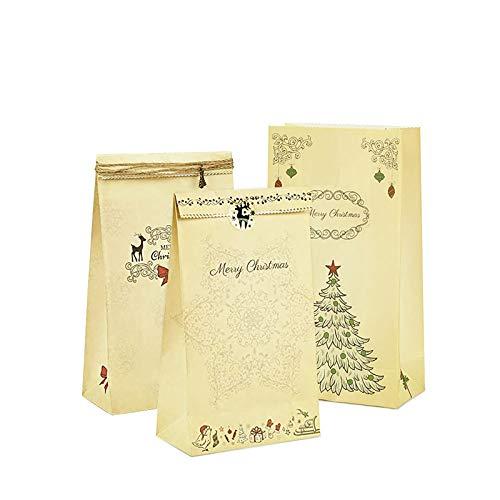 omitium Weihnachten Geschenktüten, 24 Stück Geschenktaschen, Wiederverwendbare Braunem Kraftpapier mit Verschiedenen Designs Weihnachtstüten für Brot Süßigkeiten, zum Verzieren Adventskalender
