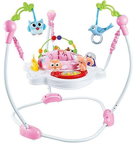 Eco Toys MamaLoes Hopser für Babys mit Musik und Licht, 360 Grad drehbar und verstellbar, rosa HC393705