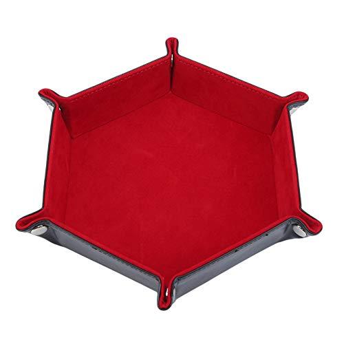 DYSCN Würfelschale Metallwürfel Rollschalenhalter Aufbewahrungsbox für DND Tischspiele Doppelseitig klappbares Pu-Leder-Sechskantschale,rot