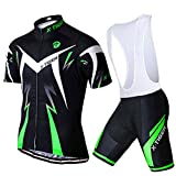 X-TIGER Men's Cycling Jersey Set,Biking Short Sleeve Set with 5D Gel Padded Shorts,Cycling Clothing Set for MTB Road Bike