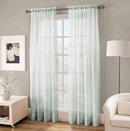 Kensington Home Fashions Crushed Voile Sheer 63-Inch Rod Pocket Window Curtain Panel in Sea Grass