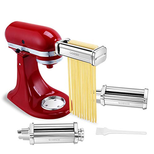 of attach for kitchenaid stands Pasta Roller Attachment Sheets and Cutter for Kitchenaid Stand Mixers -Water Available & Polished Stainless Steel, Spaghetti and Fettuccine Cutters - Stand Mixer Accessories