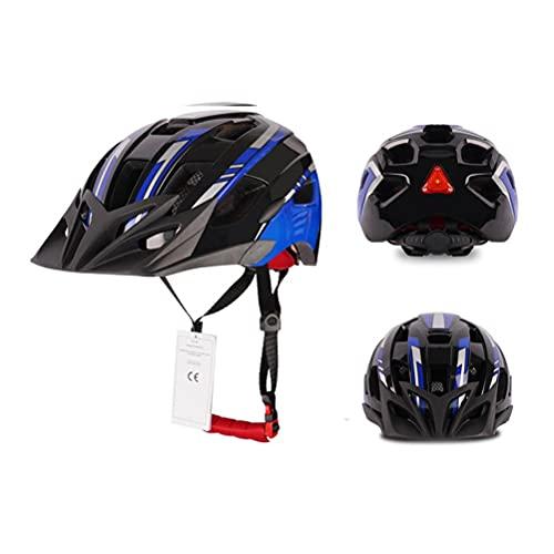TangYang Bike Helmet for Men Women Adults Adjustable,Road Mountain Bike Helmet with Safety Warning Light Bicycle Helmet Sports Ventilated Riding Cycling Helmet