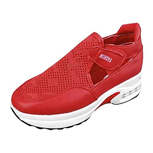 Sandalias de mujer de malla para fitness, zapatillas de deporte, zapatillas de deporte, zapatillas de verano, zapatillas planas, rojo, 37 EU