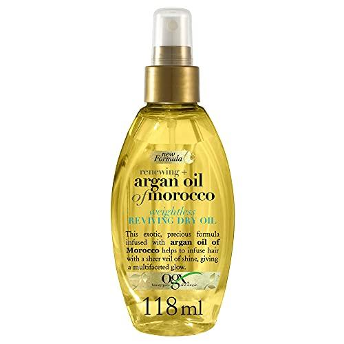 OGX Aceite de Argán de Marruecos, aceite seco ligero revitalizador, aceite, pelo radiante, sedoso, suave, brillante, antiencrespamiento - 118 ml (2725000)
