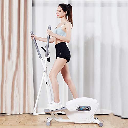Máquina elíptica de entrenamiento cruzado, equipo de fitness en casa con pies antideslizantes, elipse entrenador magnético con 8 niveles de resistencia, color blanco