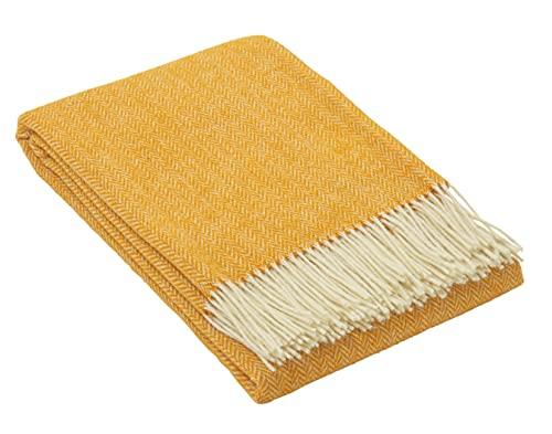 Nostra Woll Decke ZELANDIA | 100prozent Wolle | Sofadecke | Warme Decke | Ideal für Babys | Angesagte Decke | Senf Decke | 140x200 cm