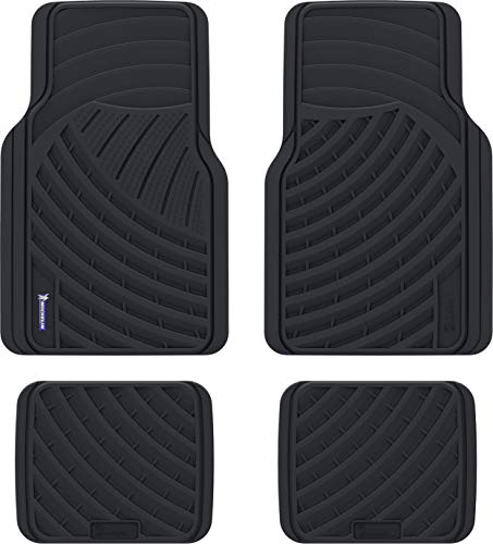 MICHELIN Automotive All Weather Rubber Floor Mats: 4 Piece Set (Front + Rear), Universal Fit, Black