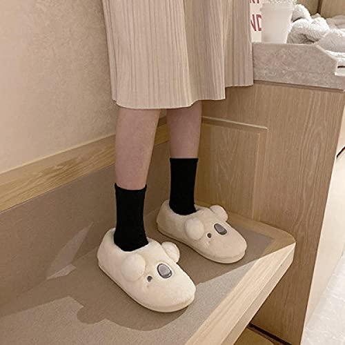 Zapatillas De Casa Mujer Cerradas,Zapatillas De AlgodóN De Dibujos Animados Bonitos, Zapatillas De AlgodóN De Felpa De Suela Gruesa Antideslizantes para El Hogar Interior De OtoñO/Invierno para Muj