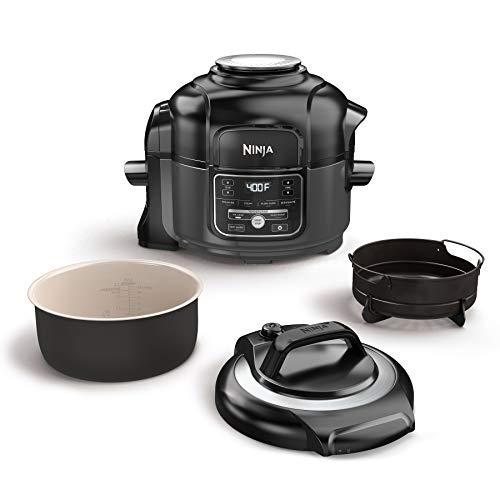 Ninja Foodi 7-in-1 Programmable Pressure Fryer, Slow Multi Cooker with TenderCrisp Technology, 5 Pot, 3-qt. Air Fry Basket (OP101), 5-Quart, Black/Gray