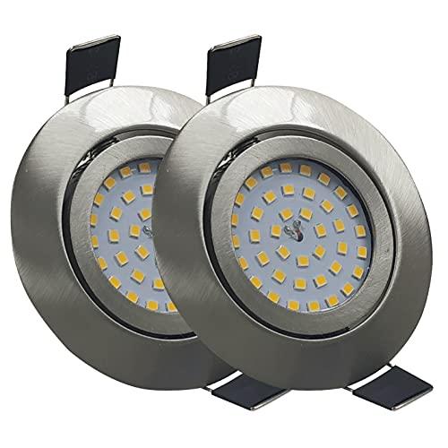 Pack 2x Downlight LED Empotrable Redondo Orientable LED 7w. Color Blanco Frio (6500K). Material Acero. Solo 25mm de Altura. 700 Lumenes. Ceiling Integrado Directo a 220V.
