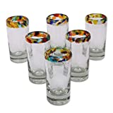 "NOVICA Hand Blown Rim Shot, 2 Oz. 'Confetti' (Set of 6) Recycled Glass, 3.5""Tall, Multicolored"