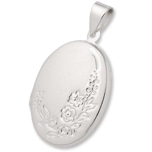 Schmuck-Pur Echt 925/- Silber Medaillon oval mit Wunsch-Gravur