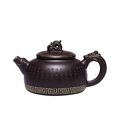 ADSE Taza de té Crudo Old Purple Mud Purple Sand Pot Todo Hecho a Mano Dragon Line World Under The Gold Teapot Craftsman (Color: Old Old Purple Fan)