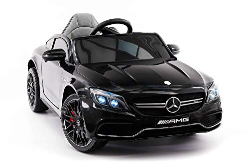 Moderno Kids Mercedes C63S 12V Power Children Ride-On Car with R/C Parental Remote + EVA Foam Rubber Wheels + Leather Seat + MP3 USB Music Player + LED Lights (Black)