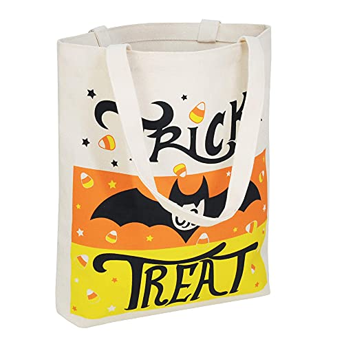 """3 Large 13.75"""" Halloween Tote Reusable Canvas Bag for Trick or Treat, Pumpkin Party Favor Goodie Bags."""