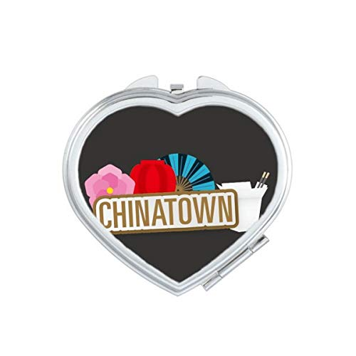 DIYthinker Flower Lantern Fan Brown China Town Mirror Heart Compact Makeup Portable Mignon Cadeau Miroirs de Poche à la Main Multicolore
