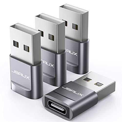 JSAUX USB A auf USB C Buchse Adapter [4 Stück] USB Typ C Adapter Kompatibel für iPhone 11/12 Pro Max, Samsung Galaxy S20/S20+/S20 FE/S21/Note 20/Note 10/A70/A50/A90, Google Pixel 4/4XL/3/3XL Grau