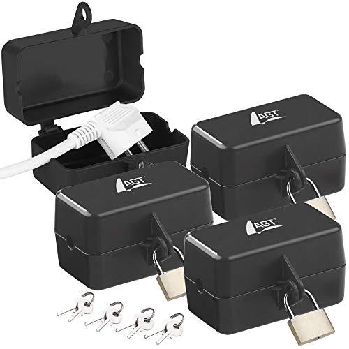AGT Steckerschloss: 4er-Set abschließbare Stromstecker-Schutzbox mit Vorhängeschloss (Steckersafe als Kindersicherung)