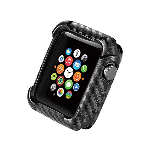 Carbon Fiber Texture Case Compatible with Apple Watch Series 4/3/2 - TPU Frame Case High-Gloss/Twill Weave Finish Protective Bumper Cover Compatible 38/40/44/42 mm (Black, 38MM)