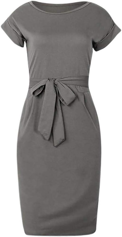 KIMODO Womens Dresses Summer Casual Pocket Ladies Short Sleeve Dress Swing T-Shirt Evening Party Mini Dress