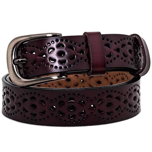 AmyKer Cinturón de cuero genuino para pantalones vaqueros Vestido con hebilla de punta, Rojo, Blanco, Marrón, Negro, Regalo para ella (Marrón, 105 cm (Cintura: 20'-33'))