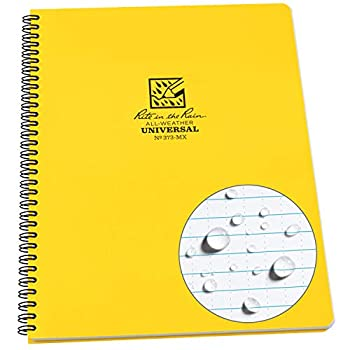 Rite In The Rain Weatherproof Side Spiral Notebook Yellow Cover Universal Page Pattern  No 373-MX  11 x 8.75 x 0.5