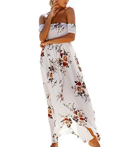 Dames zomer maxi-jurk off shoulder bloemenprint splitjurk strand zonnejurk,White,3XL