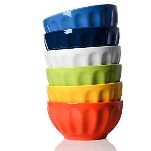 Sweejar Ceramic Fluted Bowl Set 26 oz for Cereal Salad Pasta Soup Dishwasher Microwave Safe  set of 6