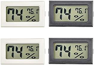 4 Pack Mini Digital Thermometer Hygrometer Indoor Temperature Fahrenheit (℉) Humidity Meters Gauge with LCD Display for Home Room Humidors Greenhouse Garden Cellar Fridge Jars Incubators Guitar