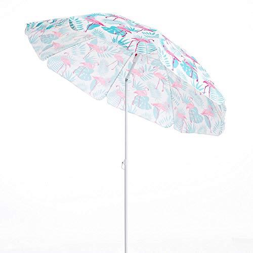LOLAhome Sombrilla Playa Flamenco Rosa Acero de Ø 180 cm