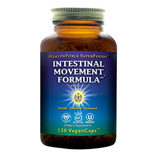 HealthForce SuperFoods Intestinal Movement Formula, Herbal Laxative, All-Natural, Organic, Non-GMO, Gluten-Free, Kosher, Vegan, 120 Count