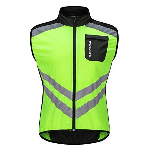 WOSAWE Fahrradweste für Herren, hohe Sichtbarkeit, ärmellos, reflektierend, für Radfahrer - Grün - X-Large