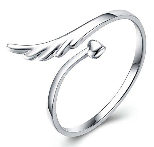 AIUIN - Anello in argento a forma di ali d'angelo, misura regolabile, con custodia