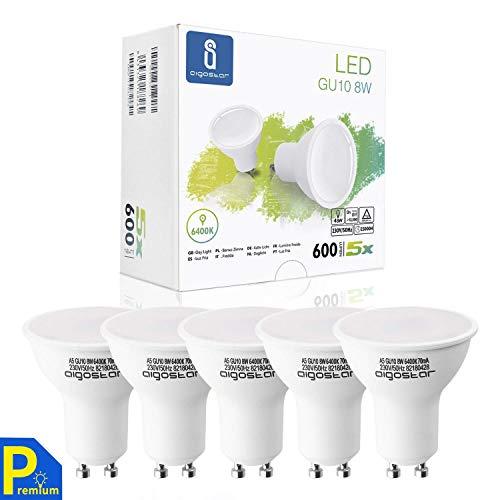 LED Leuchtmittel GU10 8W Kaltweiß, Glühbirnen 600 Lumpe 6400K 230V Abstrahlwinkel 120-160 Grad, Lampe Strahler Flimmerfrei nicht Dimmbar Reflektorlampe 5er-Pack