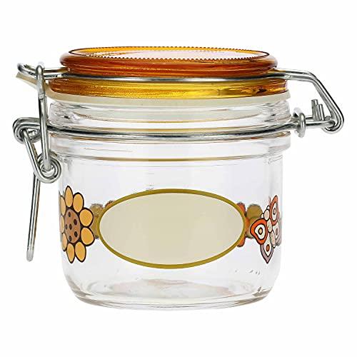 THUN - Barattolo Ermetico in Vetro con Fiori - Arancione - Arredo Casa, Cucina - Idea Regalo - Linea Country - Vetro - 200 ml; h 8,9 cm; ⌀ 8 cm