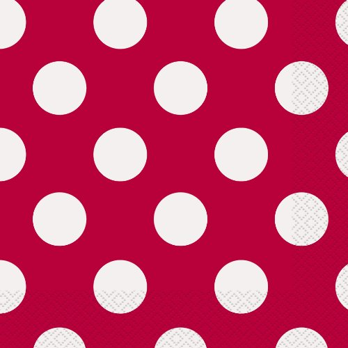 Unique Party 30425 - Servilletas de Papel a Lunares - 16,5 cm - Rojo - Paquete de 16
